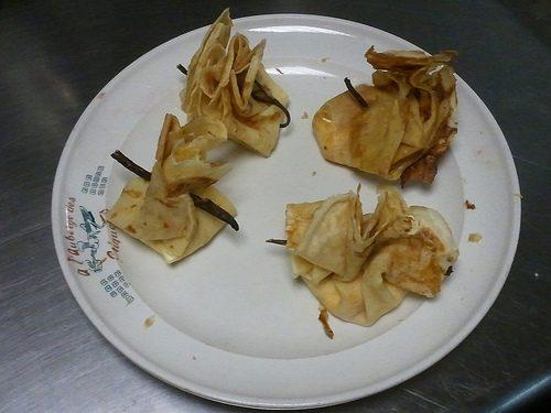Aumônières croustillantes au fromage frais et au cumin