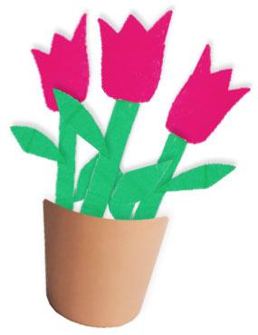 Bricolage fleurs tulipes en papier avec pot